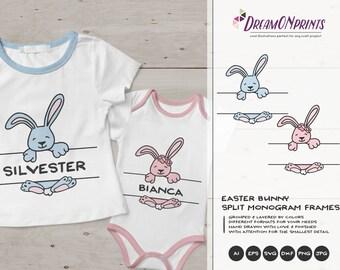 Boy and Girl Bunny SVG | Bunny Split Monogram Frames SVG | Funny Easter Svg