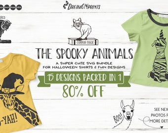 The Spooky  Animals | Funny Halloween SVG Bundle for Shirts and Fun Designs