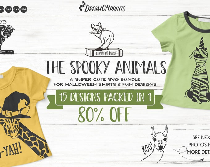 Featured listing image: The Spooky  Animals | Funny Halloween SVG Bundle for Shirts and Fun Designs