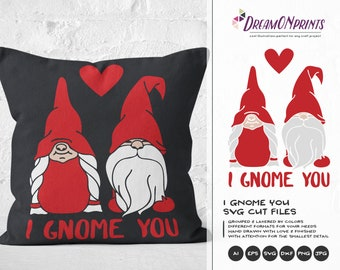 Valentines Day SVG, Gnome with Heart Svg, Gnome Svg, Valentine Gnome, I Gnome You SVG Love Gnomes, Garden Gnome Clipart Svg DOP189
