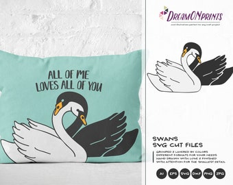 Love Swans SVG, Love Couple Svg Love Svg, Black Swan Svg, Valentines Day Svg for Cricut, Silhouette DOP180