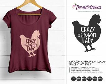 Crazy Chicken Lady Svg, Hen SVG, Farm Animals Svg, Farm SVG, Farmhouse svg Sign Making Svg Files for Cutting and Printing DOP273