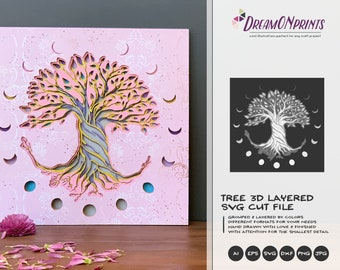 Tree 3D SVG | Tree SVG 3D Layered Design | Moon Phases