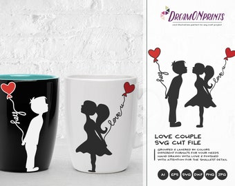 Love Couple SVG, Kissing Boy and Girl Svg Love Svg, First Kiss Svg, Valentines Day Svg for Cricut, Silhouette Cutting Machines DOP161