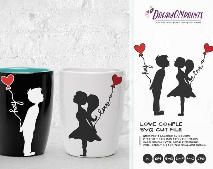 Featured listing image: Love Couple SVG, Kissing Boy and Girl Svg Love Svg, First Kiss Svg, Valentines Day Svg for Cricut, Silhouette Cutting Machines DOP161