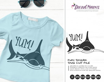 Shark SVG Funny Sharks, Yum Svg Kids, Ocean Svg Sea, Beach Summer, Animals  Svg Cut File, Nature Svg Files for Cricut or Silhouette DOP369