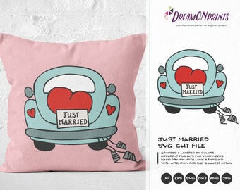 Just Married Svg Wedding SVg, retro Car Svg VW Beetle Svg, Love SVG, Heart Svg, Married Svg for Cricut, Svg for Silhouette DOP153