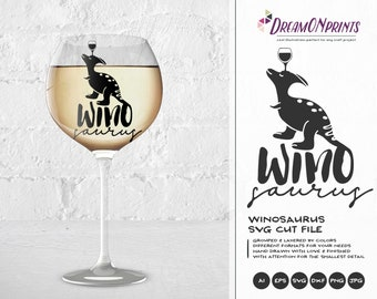 Winosaurus SVG Wine Svg, Dinosaur Svg, Wine Lover SVG, Love SVG Svg Files for Cricut, Silhouette Cutting Machines DOP096