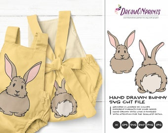 Bunny Butt SVG Easter Bunny Svg Funny Easter Svg Cut Files, Bunny SVG, DXF for Silhouette, Svg for Cricut Cut Files DOP242