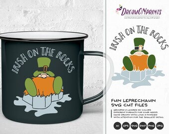 Irish on the Rocks SVG, Irish Gnome SVG St Patricks Day, Irish Whisky SVG, Shamrock Svg Cutting Files for Cricut, Silhouette, Htv Svg DOP190