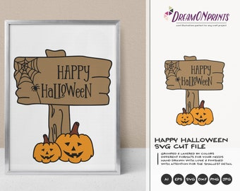 Happy Halloween SVG Sign | Halloween Pumpkin SVG | Pumpkin Desiggn