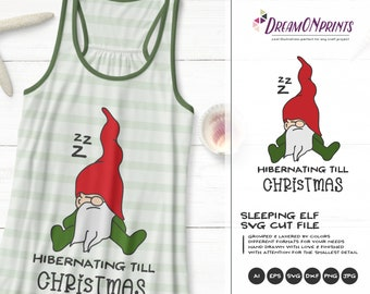 Gnome SVG Files| Sleeping Gnomes SVG | Hibernating till Christmas Svg | Merry Christmas SVG | Garden Gnome Svg | Dxf Files for Cricut
