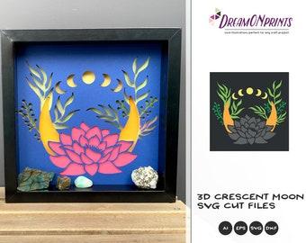 3D Crescent Moon SVG | Lotus SVG 3D Layered Design | Laser Cut Files