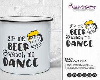 Funny Beer SVG, Beer Cut File, Wine Lover SVG, Wine Me Up & Watch Me Dance SVG Svg Files for Cricut, Silhouette Cutting Machines DOP351