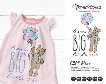 Dream Big Little One SVG, Baby SVG, Kids svg, Moon & Stars Digital Cut Files, Dream Big SVG for Silhouette, Cricut Svg Htv Svg Decal DOP148