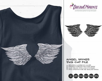 Angel wings SVG Black and White | Angel Cut File | Wings Design