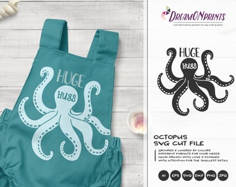 Huge Hugs SVG | Octopus SVG Vector| Ocean Svg