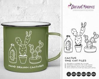Cactus SVG Cacti SVG Cut Files, Succulent svg, Clipart Cactus Illustration, Fun SVG for Cricut, Svg for Silhouette DOP058
