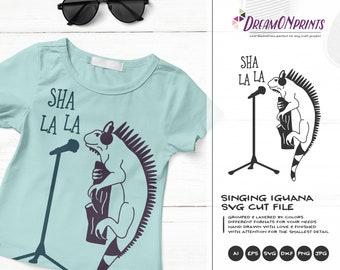 Singing Iguana SVG | Music SVG | Lizard SVG Cut Files