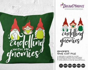 Cuddling With My Gnomies SVG | Christmas Gnomes SVG | Cute Gnomes Design