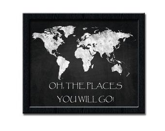 World Map Art Print, Chalkboard World Map 10x8 and 14x11, Chalkboard Poster, Printable Wall Art, Digital Poster, Chalk Digital Print wp135