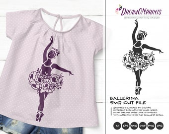 Ballerina SVG Flowers, Ballet SVg, Kids SVG, Ballet Dancer Svg Cut File, Floral Girls Svg for Cricut, Silhouette Cutting Machines DOP322