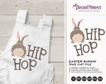 Bunny Butt SVG, Hip Hop Svg Easter Bunny Svg Funny Easter Svg Cut Files, Bunny SVG, DXF for Silhouette, Svg for Cricut Cut Files DOP239