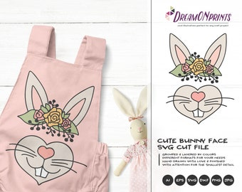 Bunny SVG Bunn Svg, Kids SVG, Cute Wild Svg Cut File, Nature, Animals Svg DXF Files for Cricut, Silhouette Cutting Machines