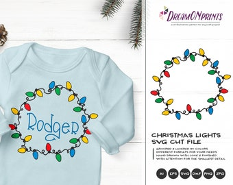 Christmas Lights SVG | Monogram Frame Cut files | Cute Christmas Svg | Christmas Shirt Design