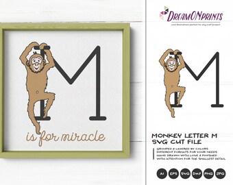 Monkey SVG | Monogram Letter M SVG Cut File