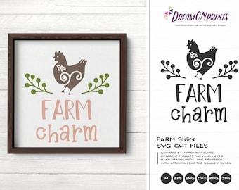 Farm Charm Svg, Chicken Svg, Hen Svg Cut Files, Farm Animals Svg Cut File, Farm House Svg Files for Cutting and Printing DOP279