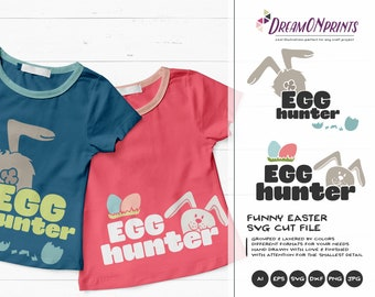 Egg Hunter SVG Funny Easter Svg Cut Files, Bunny SVG Easter Eggs, DXF, Egg Hunt Svg for Silhouette, Svg for Cricut Cut Files DOP037