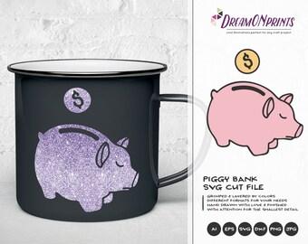 Piggy Bank SVG , Savings Svg, Funds Svg Money Svg Cut Files DOP118