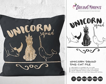 Unicorn Squad SVG, Unicorn Svg Rhino SVG Narwhal Svg, Rhinoceros Svg, Unicorn of the Sea, Unicorn Cut files DOP127
