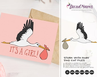 Stork Svg Birds, New Born SVG New Baby SVG, Pregnancy, Baby Announcement Svg, Dxf Png Eps, Svg for Silhouette, Cricut Svg DOP182