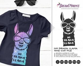 No Drama Llama SVG, Llama Cut File Svg Drama Llama Svg, DXF Files for Cricut, Silhouette Cutting Machines DOP195