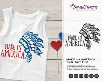 Made in America SVG |Headdress Patriotic SVG
