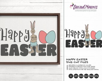 Happy Easter SVG, Easter Bunny Svg Funny Easter Svg Cut Files, Bunny SVG, DXF for Silhouette, Svg for Cricut DOP248