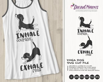 Funny Yoga Svg Dog SVG, Inhale Exhale, Pets Svg Beagle, Animals Svg Cute Svg Cut File, Nature Svg DXF Files for Cricut or Silhouette DOP381