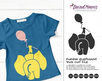 Elephant Svg Balloon Svg, Elephant Butt Kids SVG, Cute Svg Cut File, Nature, Animals Svg DXF for Cricut, Silhouette Cutting Machines DOP231