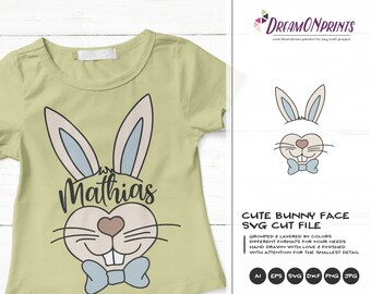 Bunny Face SVG Easter Svg, Kids SVG, Cute Wild Svg Cut File, Nature, Animals Svg DXF Files for Cricut, Silhouette Cutting Machines