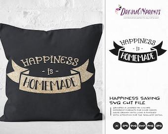 Happiness is Homemade SVG, Kitchen SVG, Kitchen Sign Svg, Apron Svg Designs, Sign Making Cooking svg Cricut Explore DOP295