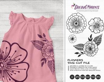Flowers SVG Cut Files| Flower Illustrations