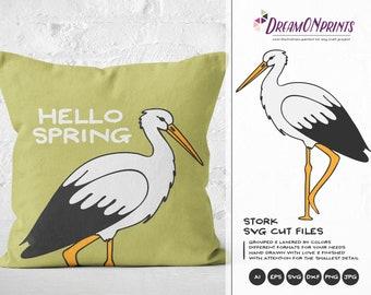 Stork SVG Cut Files Animals, Spring SVG, Birds Svg Cut File, Nature, Stork Svg DXF Files for Cricut, Silhouette Cutting Machines DOP185