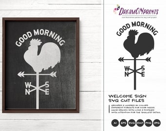 Wind Compass SVG Rooster Svg, Retro Sign Svg Cut File, Farm SVG, Farm House svg Sign Making Svg Files for Cutting and Printing DOP274
