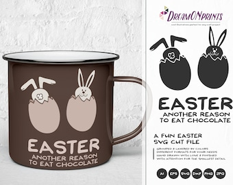 Easter SVG Funny Easter Svg Cut Files, Bunny SVG Easter Eggs, DXF, Easter Bunny Svg for Silhouette, Svg for Cricut Cut Files DOP034