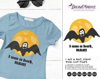 I am Batman SVG, Superhero Svg dxf png eps, Bat Man SVG, Full Moon SVG Cut Files for Cricut or Silhouette DOP203