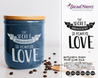 Kitchen Svg Love SVG Cut File, The Secret Ingredient is Love, Apron Svg Designs, Kitchen SVG Cutting File, Cooking svg Cricut Explore DOP174