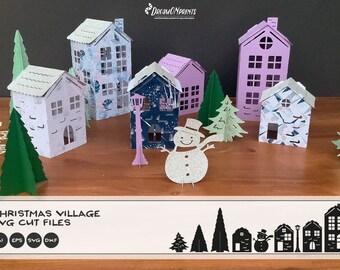 DIY Christmas Village SVG   Christmas SVG 3D Design