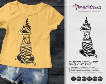 Halloween Unicorn SVG Mummy | Mummy Cut Design | Halloween Cut Files